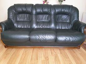 Dark Green Quality Leather 3 Seater sofa