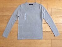 M&S Mark And Spencer Blouse Lady Size 8 Crew Neck Silver Grey