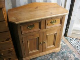 MODERN ORNATE VERY STURDY SOLID PINE SHAPED SIDEBOARD. VIEWING / DELIVERY AVAILABLE