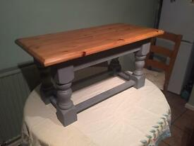 Solid Wooden Pine Coffee Table w/ Matte Grey Bottom Finish And Waxed Top