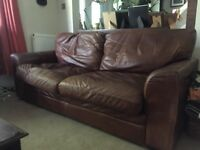 Lovely brown leather sofa