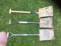 Shovel, pick axe, spade, garden fork hand tools metal