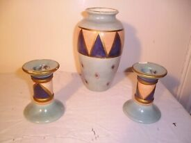 VASE & 2 CANDLE HOLDERS BY JEFF BANKS.PORT OF COLL COLLECTION.