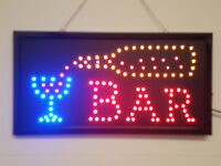LED Flashing BAR sign for pub club business door hanging window beer wine