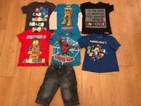 7 X BOYS 6-7 YEARS JOBLOT MINECRAFT , TURTLES , LEGO MOVIE , SPIDERMAN