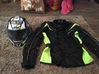 Motor bike helmet and jacket