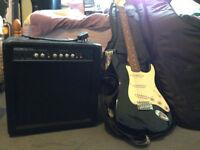 Guitar bundle (fender guitar, Levi strap,68 watt amp,CNB guitar case, guitar stand)