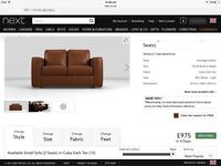 2 Seater Leather Sofa - W154cm x H88cm x D97cm. 20 months old £365 ovno