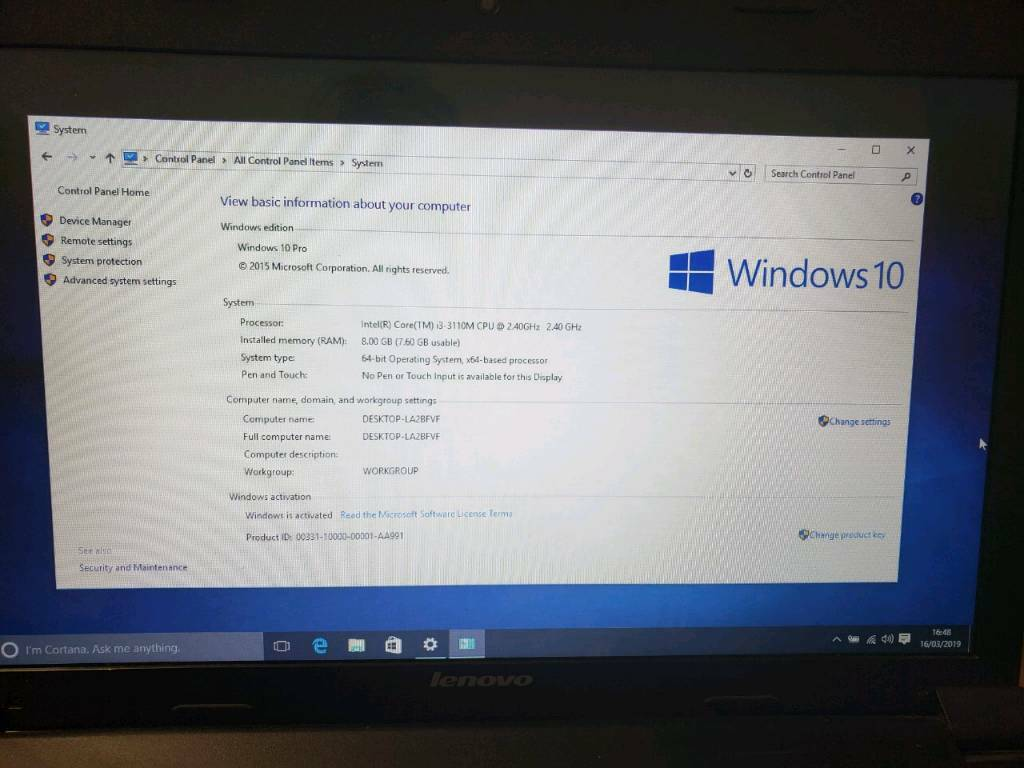 Windows 10 Pro laptop computer Lenovo B590 | in Bilborough, Nottinghamshire  | Gumtree