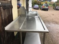 Commercial stainless steel sink with matching bench