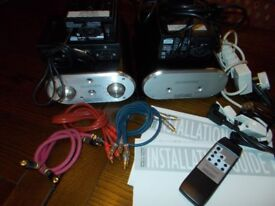 Music Fidelity X-P100 pre amp + X-AS100 power amp, psu's, remote,cables, manuals etc