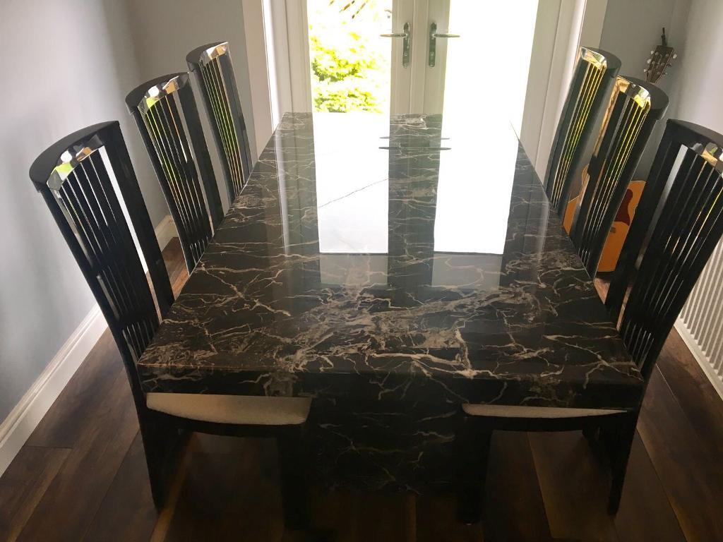 Scs Marble Dining Table With 6 Chairs Sold