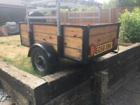 Trailer, 5' x 3' with attachable rack. Mini wheels with spare wheel. Trailer cover