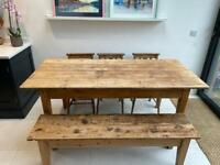 Rustic reclaimed pine dining table, bench & chapel chairs