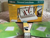 New, unopened, Fellowes Personal comb Binder Star 150 with binding combs, binding covers