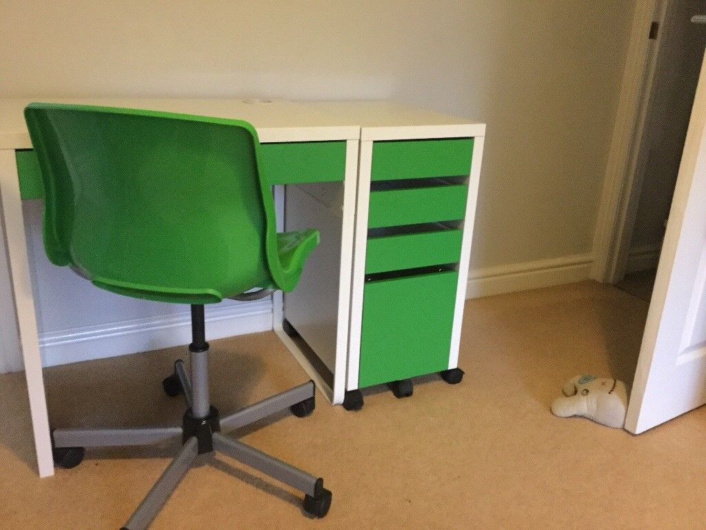 Ikea Desk Drawers And Chair For In White Green Ideal Child