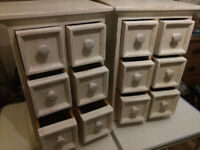 Pair 2 Shabby Chic Painted Storage Bedside Tables Cabinets Multi Chests of Drawers