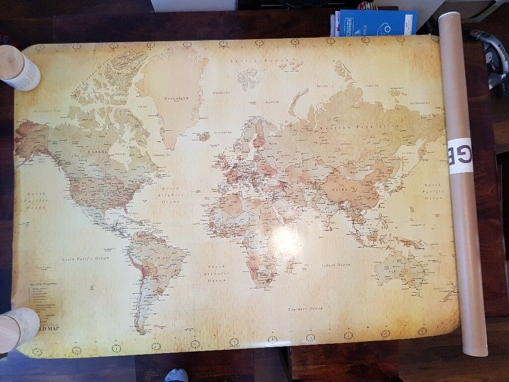 Large Vintage World Map Cm X Cm In Leicester - Large vintage world map