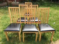6 wooden dinning chairs. Used in good condition