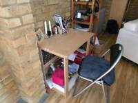Small desk and fold up chair