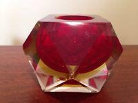 Murano red glass ashtray