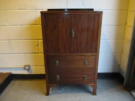 VINTAGE MAHOGANY TWO DRAWER TALLBOY WITH LARGE SHELVED STORAGE CUPBOARD FREE DELIVERY