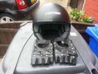 Cruiser Motorcycle Helmet With Real Leather Studded Fingerless Gloves