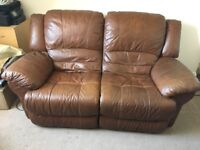 Double and single full leather electric recliner sofas