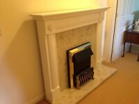 ELECTRIC FIRE WITH MARBLE HEARTH AND WOODEN MANTLE