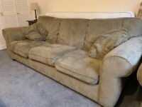 Large three seater sofa, armchair and footstool