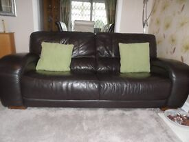 Two 3 Seater Leather Sofas in Dark Brown