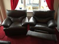 2 x brown leather recliners