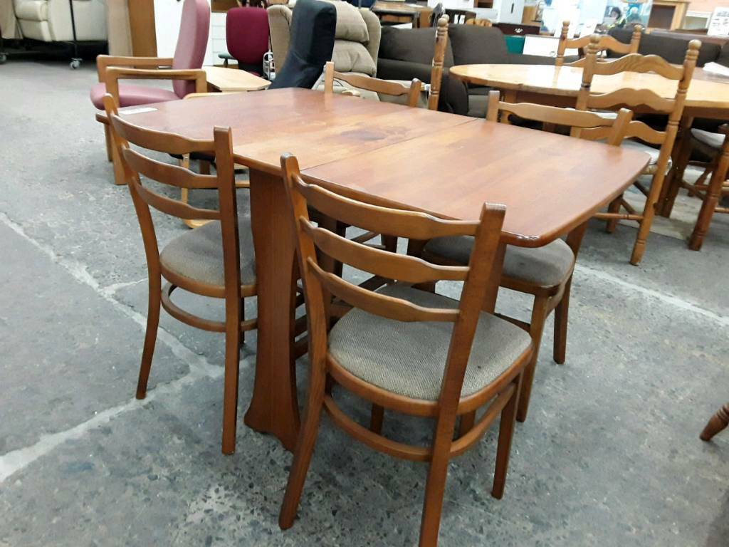 Rectangular Drop Leaf Dining Table With 4 Chairs