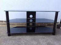 Large Black Glass Corner TV Table