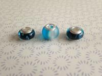 3 sterling silver murano glass lampwork charms