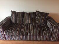 3 seater stripe fabric sofa