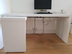 IKEA MALM Desk with pull-out panel, white AS NEW