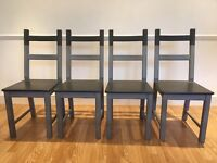 Set of 4 Hand Painted Two Tone Grey Wooden Dining Chairs for Sale for £50. Must go by 28/08/17.
