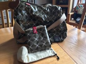 Babymel Changing Bag and accessories. Excellent condition with changing mat and bottle warmer.