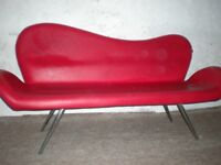 Red Leather Hairdresser Bench