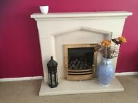 Gas fire, fireplace surround and hearth