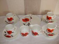 Wedgwood Susie Cooper Cornpoppy Cups, Saucers, Plates, Cake Plate, Milk & Sugar
