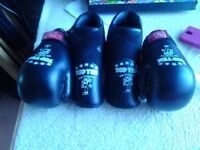 Kickboxing gloves and foot gaurds