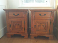 Pair of ornate wooden bedside tables