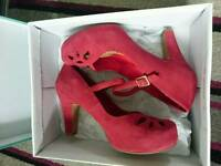 Clarks red suede ladies high heel shoe
