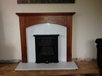 Electric Fire Wood Surround Marble Hearth Back