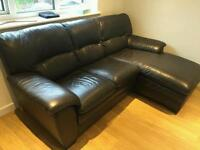 Furniture Village Brown Leather Corner 3 Seat Sofa Good Condition
