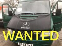 VANS WANTED!!! MERCEDES SPRINTER & TOYOTA HIACE & IVECO & VOLKSWAGEN CRAFTER ANY CONDITION VANS