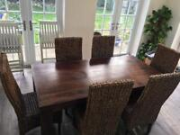 Mango solid wood dining table and six chairs