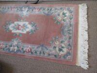 Cost £221 Chinese Luxury Deep Pile Wool Pink Blue Multi Floral Tasseled Rug